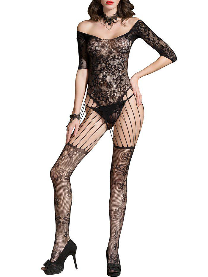 Fishnet Backless Cut Out Lingerie Bodystockings - BLACK ONE SIZE