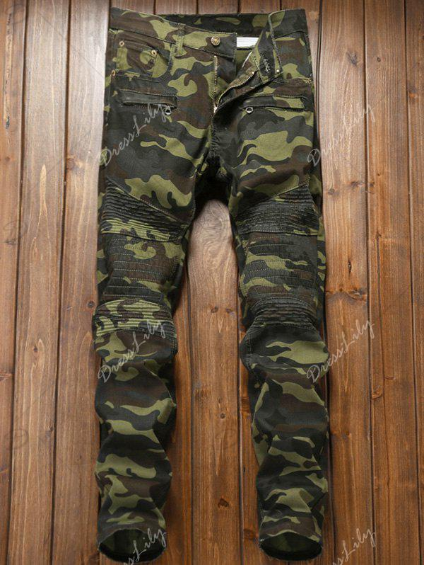 Camouflage Zipper Fly Pleat Cargo Pants - DIGITAL CAMOUFLAGE 36
