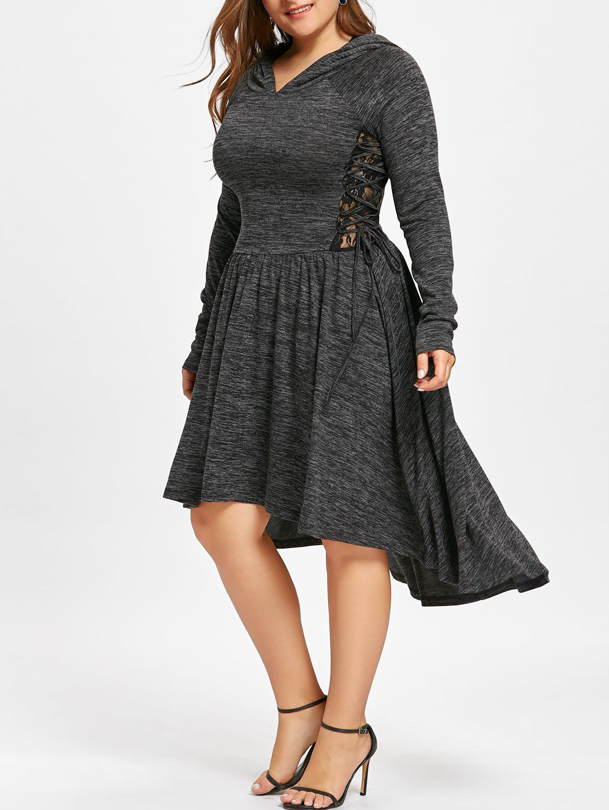 Plus Size Hooded Lace Up Dip Hem Dress - BLACK 5XL