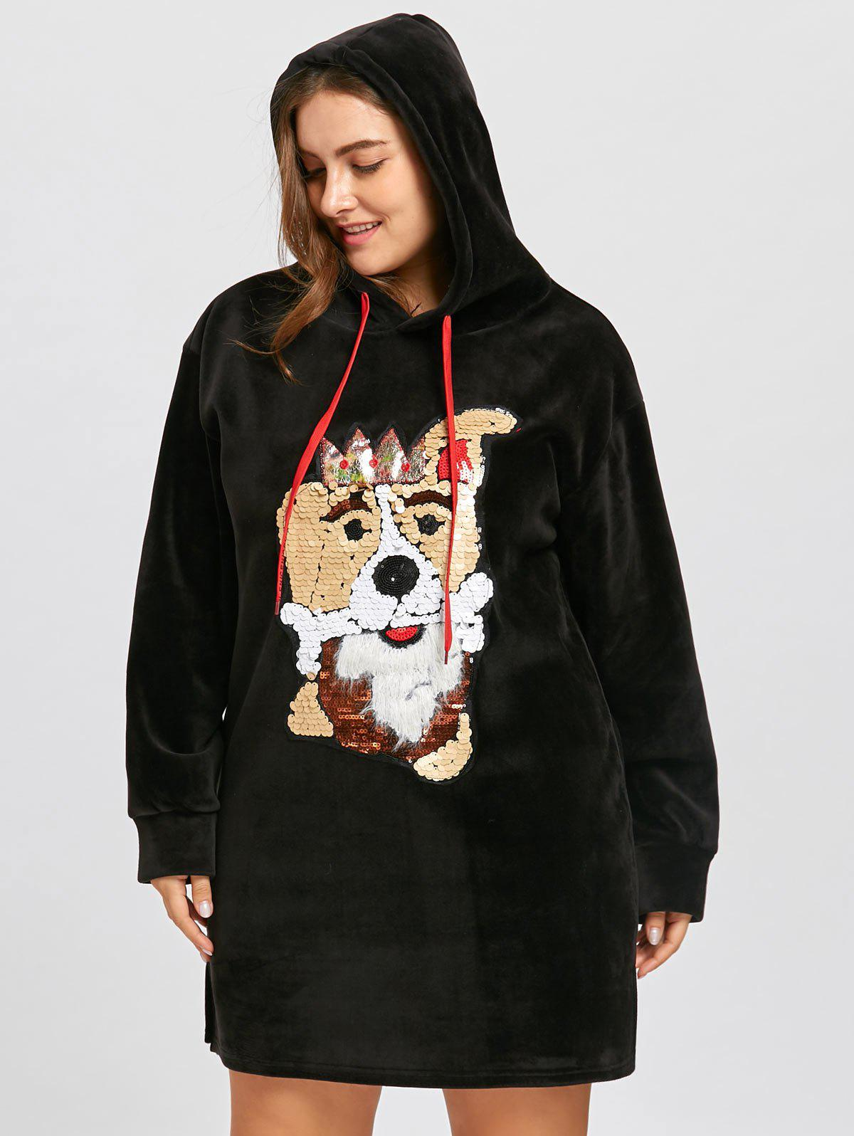 plus size sequined puppy fleece tunic hoodie dress, black, one