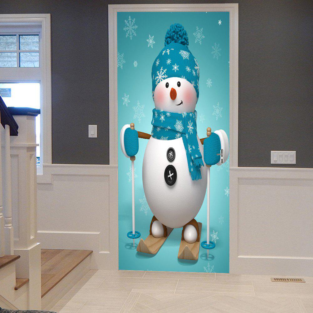 Christmas Snowman Pattern Door Stickers christmas snowman pattern door stickers