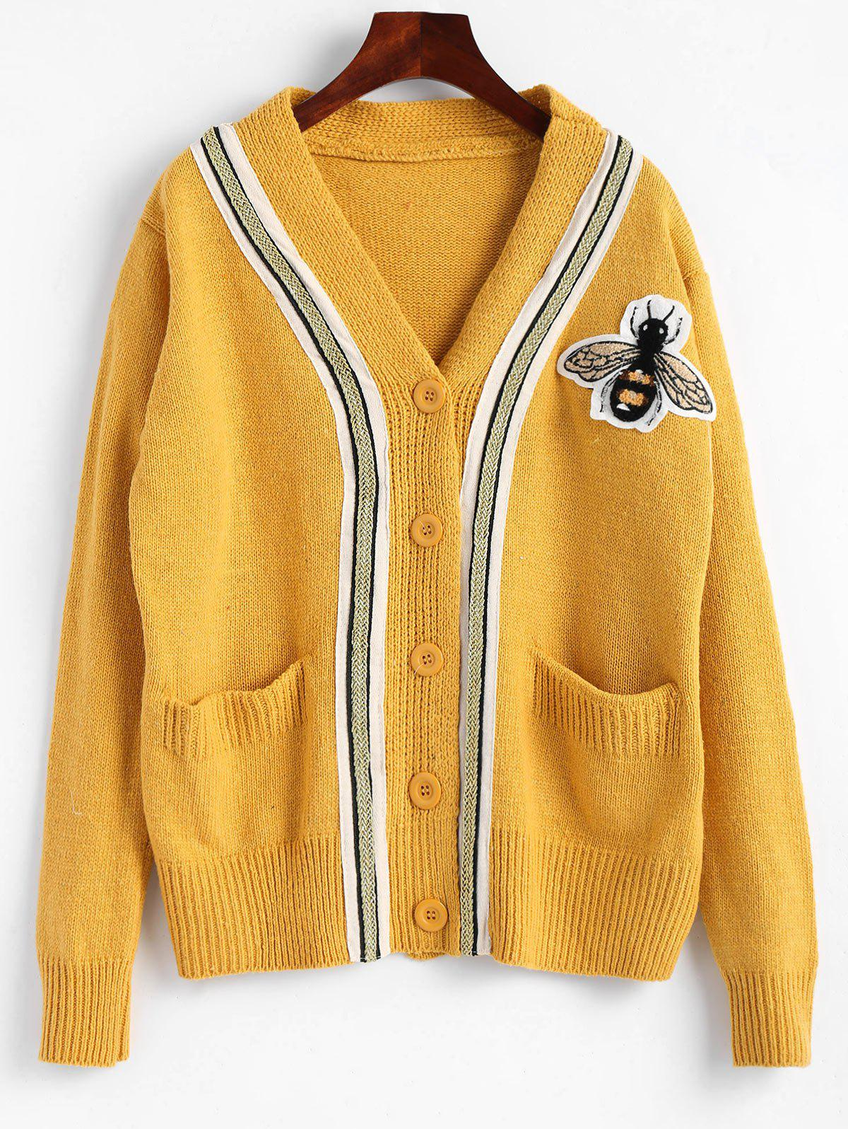 Button Up Plus Size Bee Patched Cardigan - YELLOW ONE SIZE