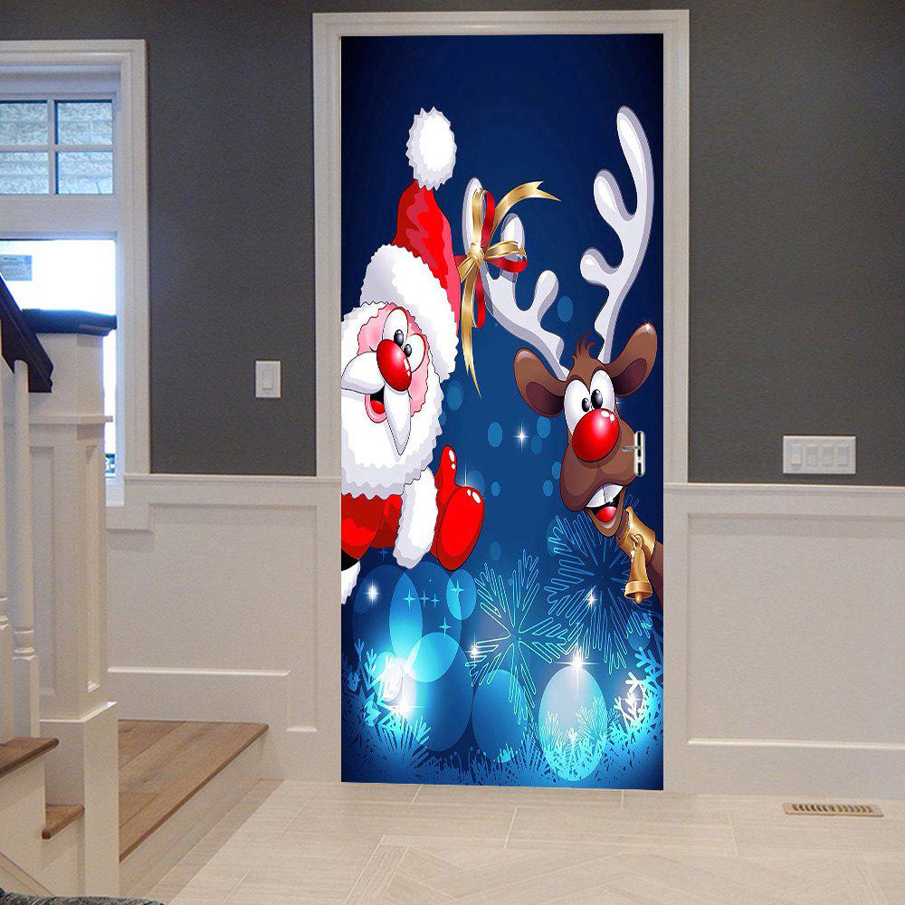Christmas Santa Deer Pattern Door Stickers