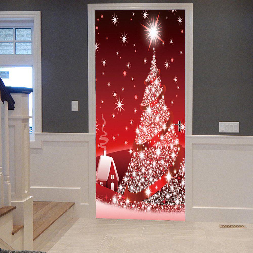 Sparkling Christmas Tree Pattern Door Art Stickers shinning christmas tree door art stickers