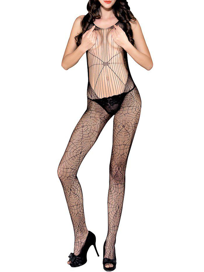 Spider Web Backless Crochet Lace Bodystockings - BLACK ONE SIZE