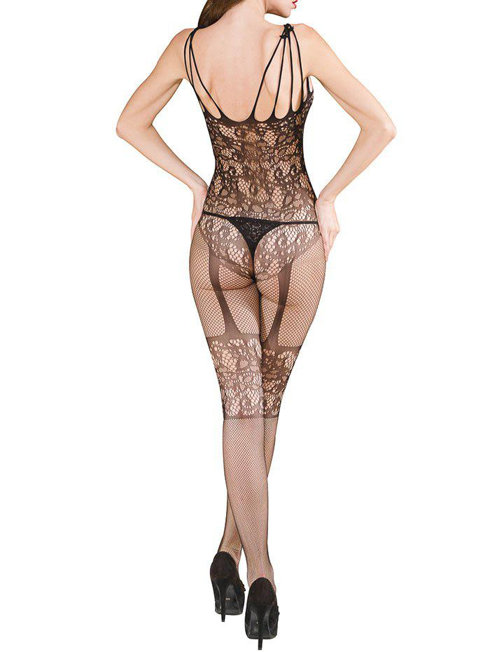 Open Back Hollow Out Lace Bodystockings - BLACK ONE SIZE