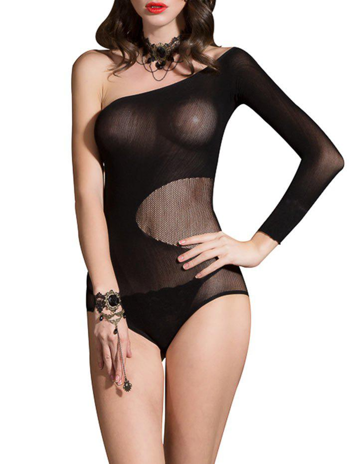 Skew Neck Long Sleeve Backless Lingerie Bodysuit - BLACK ONE SIZE