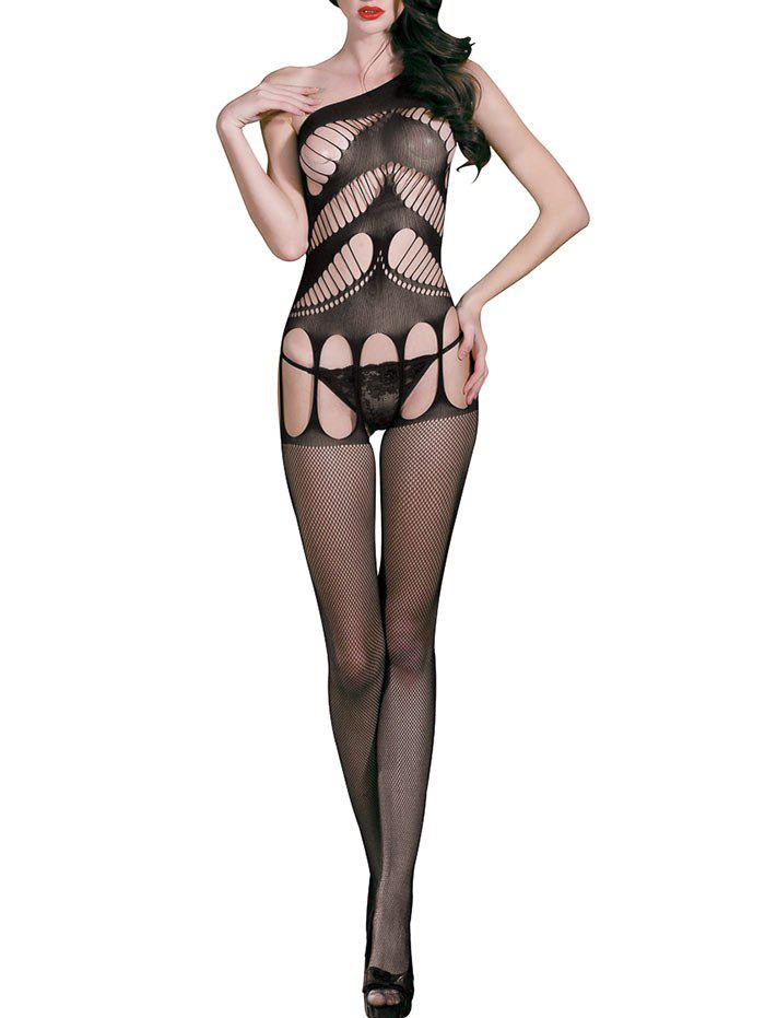 Sleeveless Backless Cut Out Fishnet Bodystockings - BLACK ONE SIZE