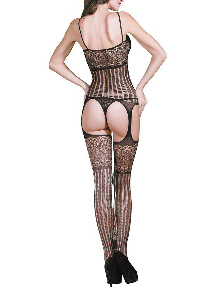 Découpez les Bodystockings de sangle de spaghetti dos nu - Noir ONE SIZE