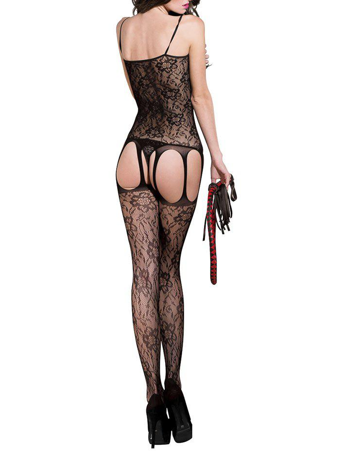 Slip Open Crotch Cut Out Suspender Bodystockings - BLACK ONE SIZE