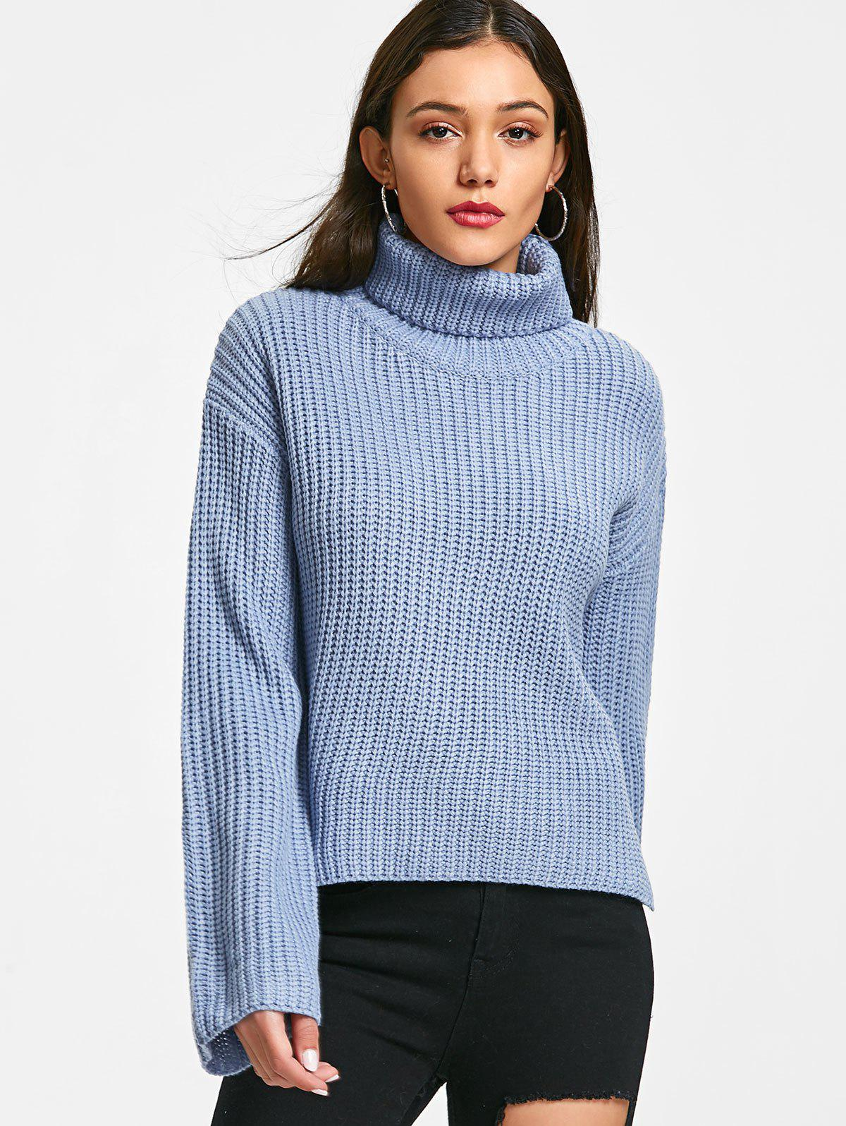 Turtleneck Chunky Tunic Sweater - BLUE ONE SIZE