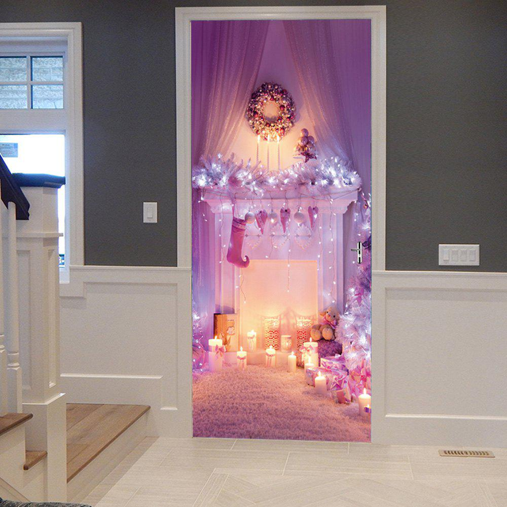 Christmas Fireplace Pattern Door Cover Stickers - LIGHT PURPLE 38.5*200CM*2PCS