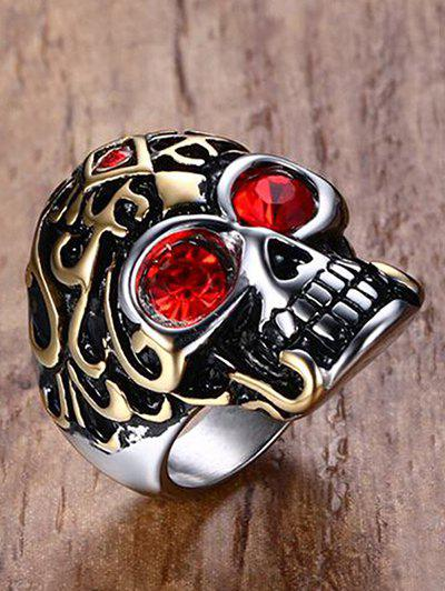 Cool Stainless Steel Rhinestone Skull Finger Ring - GOLDEN 11