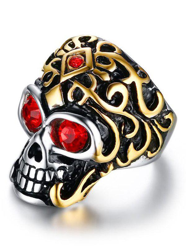 Cool Stainless Steel Rhinestone Skull Finger Ring - GOLDEN 9