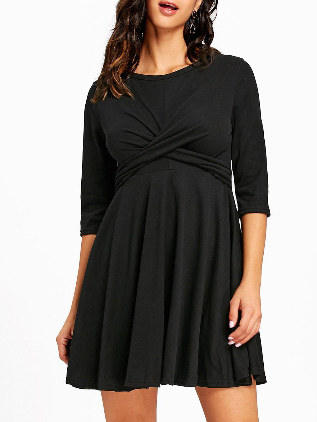 Mini Empire Waist Cross Swing Dress - BLACK S