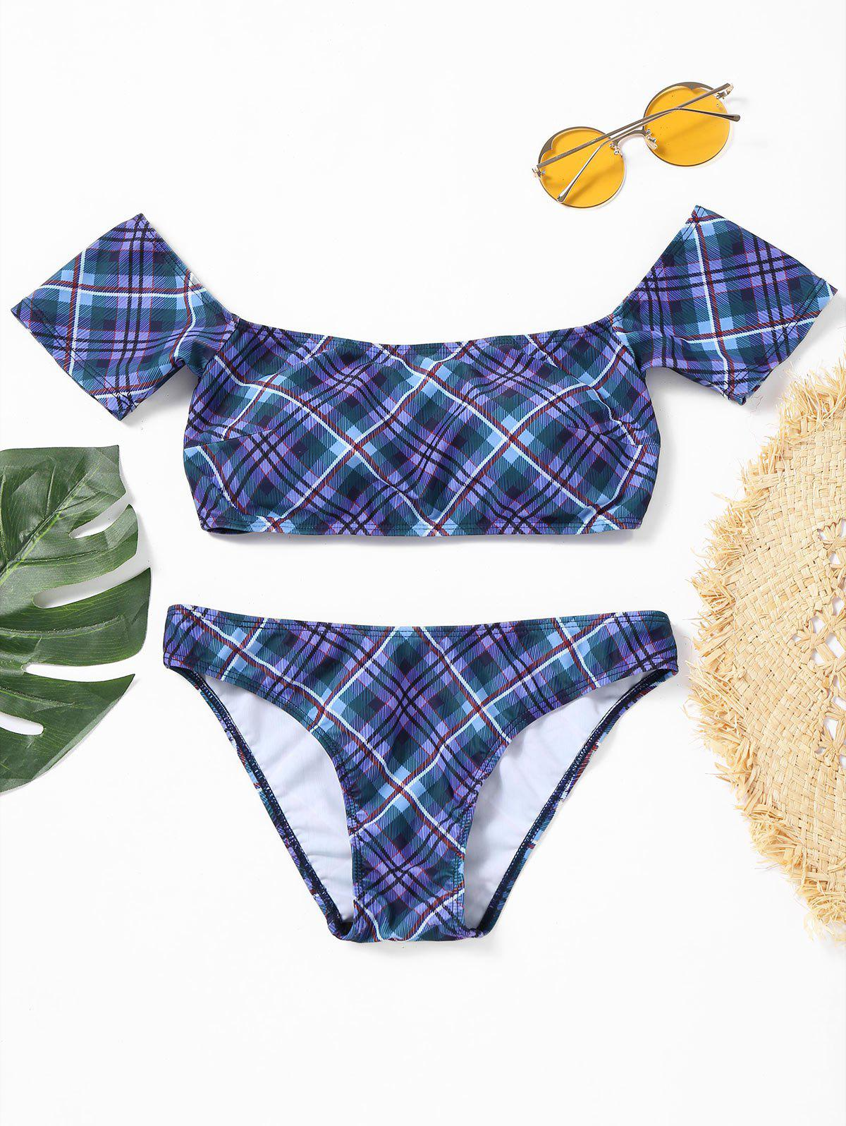 Off Shoulder Plaid Bikini Swimwear