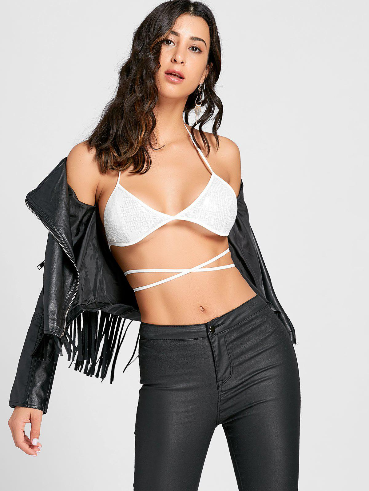 Sequins Lace Up Halter Bra Top - WHITE S