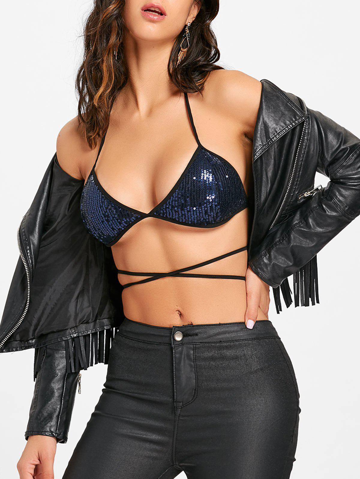 Sequins Lace Up Halter Bra Top - BLUE XL