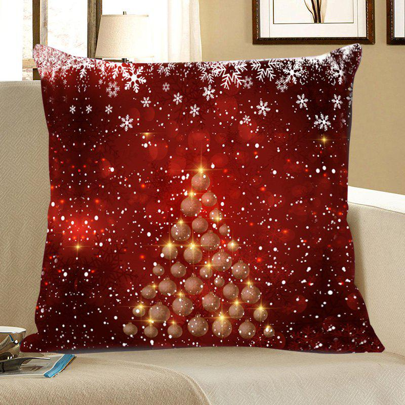 Snowflakes Balls Christmas Tree Print Throw Pillow Case - RED/WHITE W18 INCH * L18 INCH