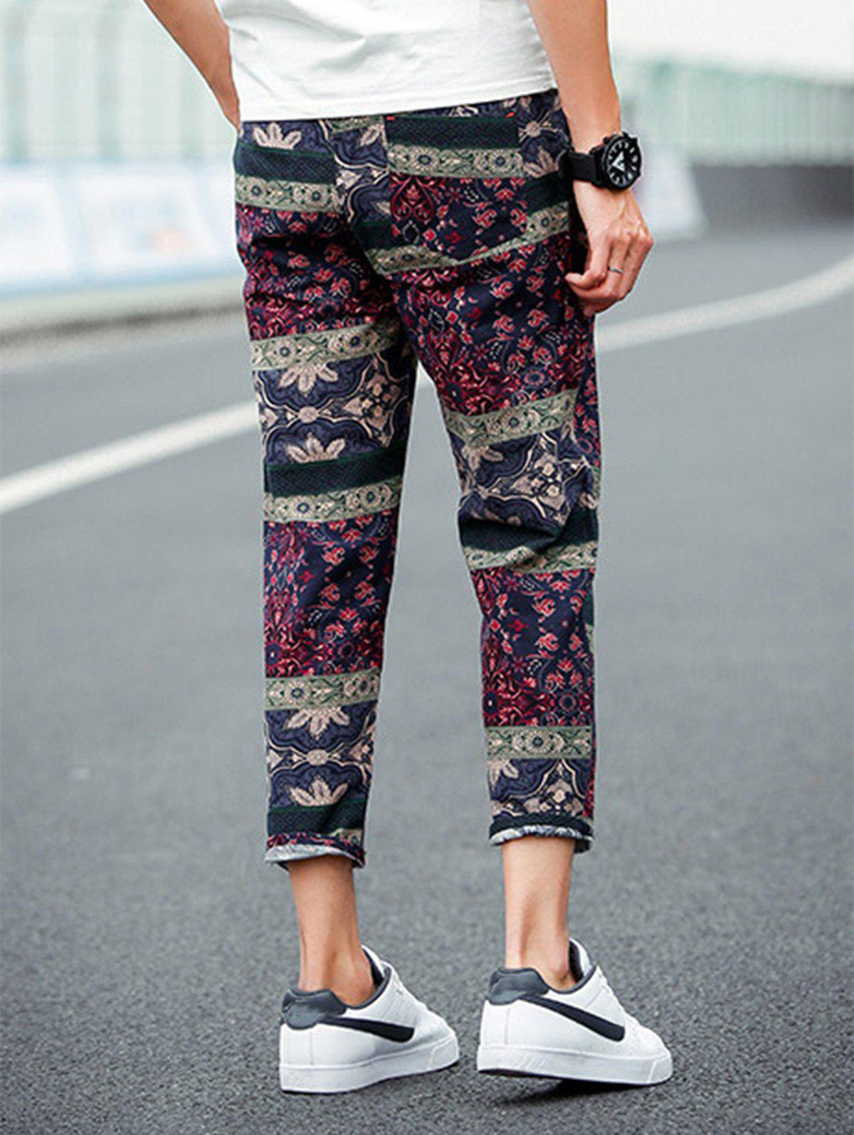 Retro Ethnic Style Flower Pattern Linen Pants - COLORMIX 4XL