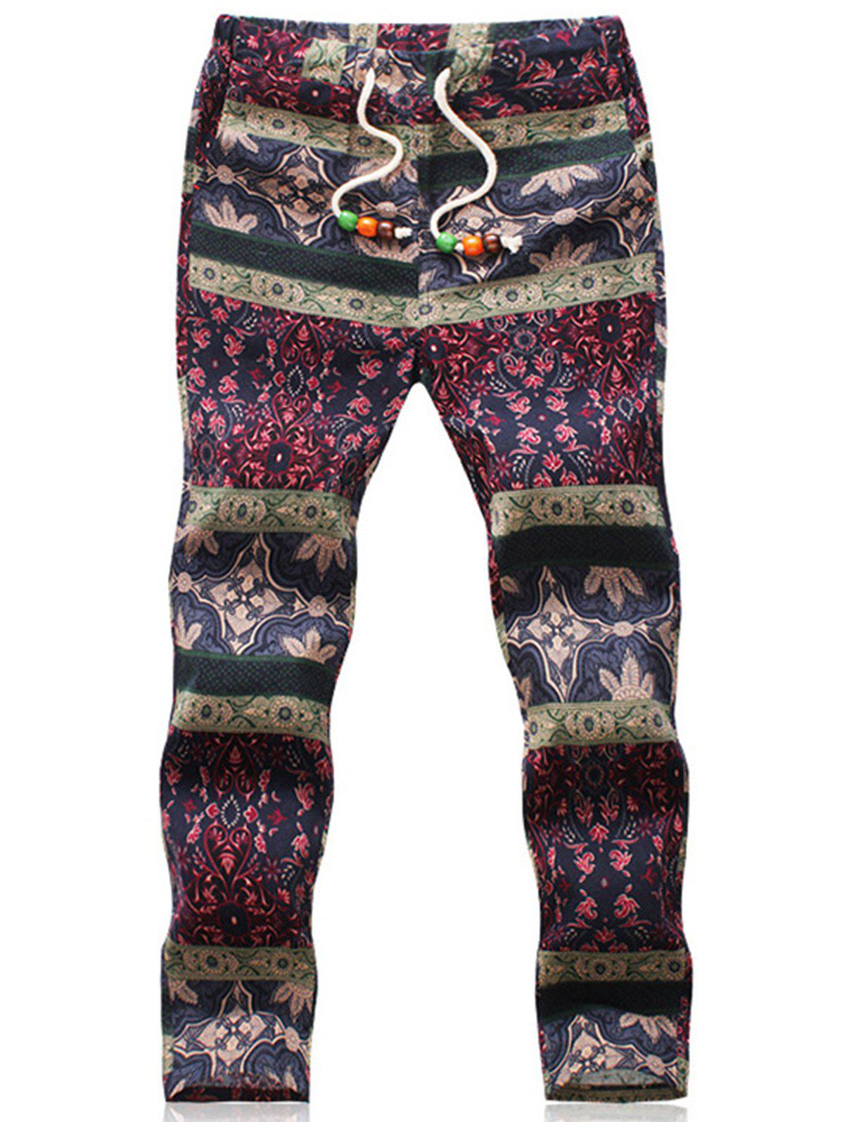 Retro Ethnic Style Flower Pattern Linen Pants - COLORMIX 3XL