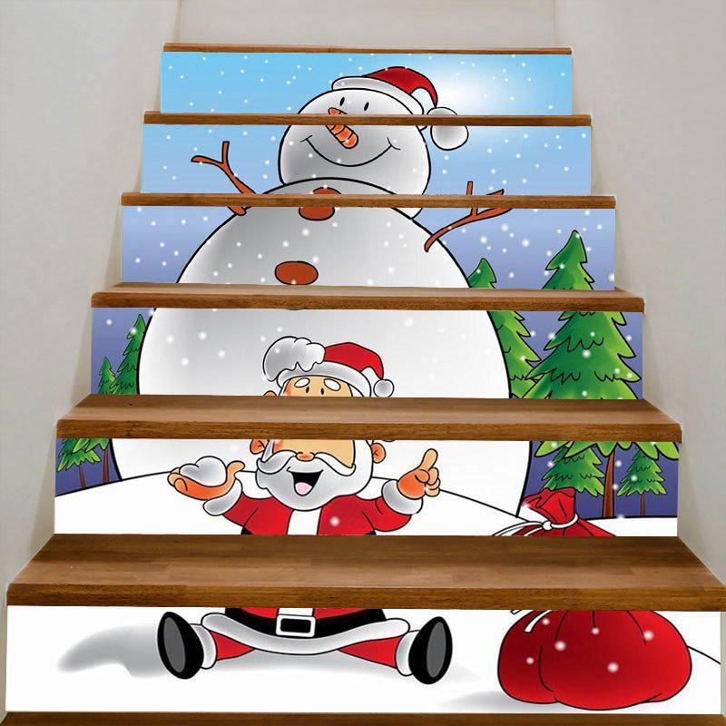 Snowman And Santa Claus Patterned Stair Stickers - WHITE/RED 100*18CM*6PCS