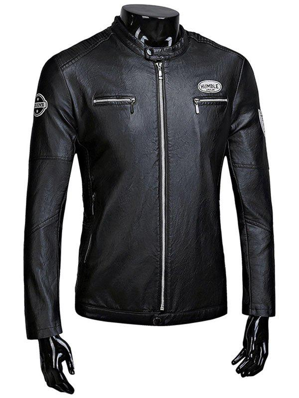 Zip Up Patch Faux Leather Flocking Jacket casual flocking faux leather jacket