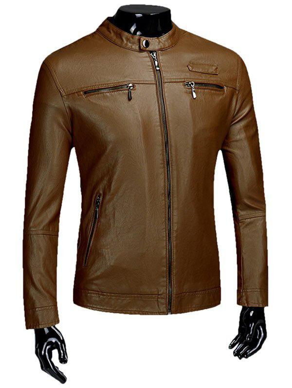 Casual Zipper Faux Leaather Flocking Jacket - BROWN 2XL