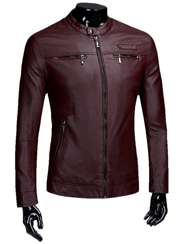 Casual Zipper Faux Leaather Flocking Jacket - CLARET 3XL