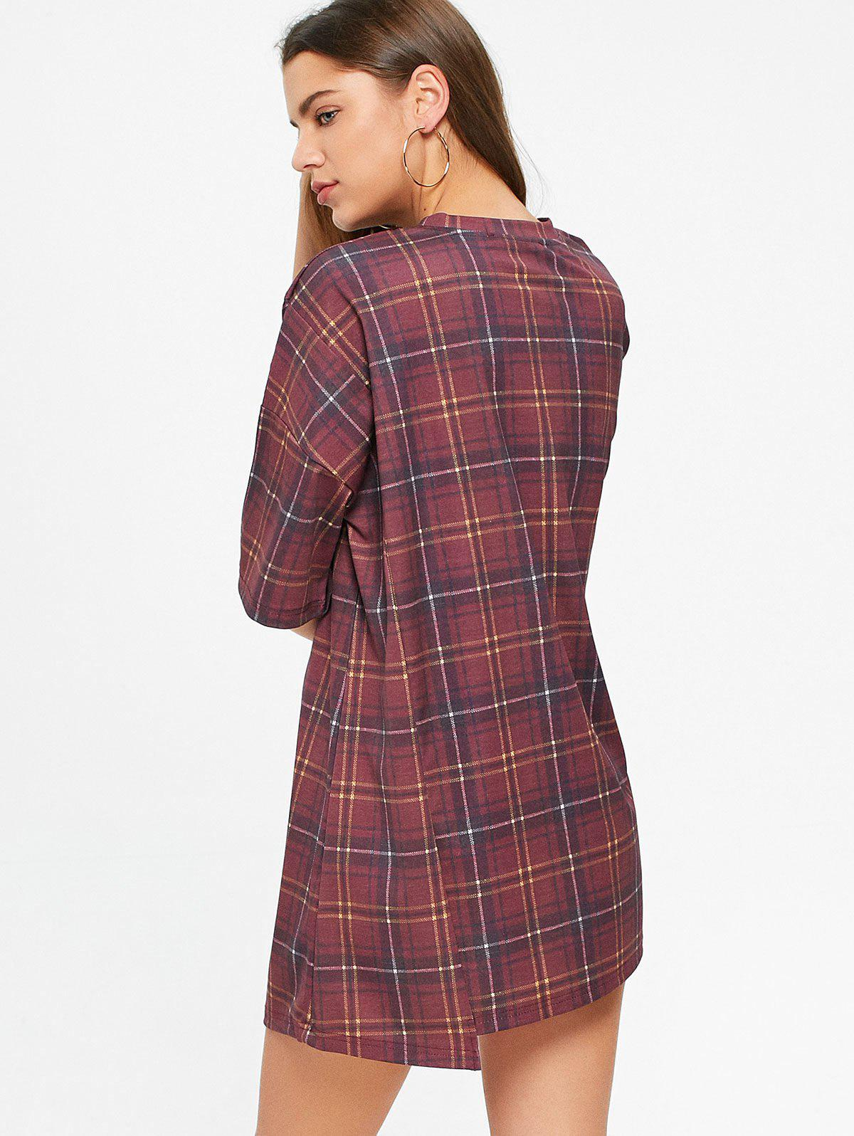 Checked Short Sleeve Shift T Shirt Dress - WINE RED L