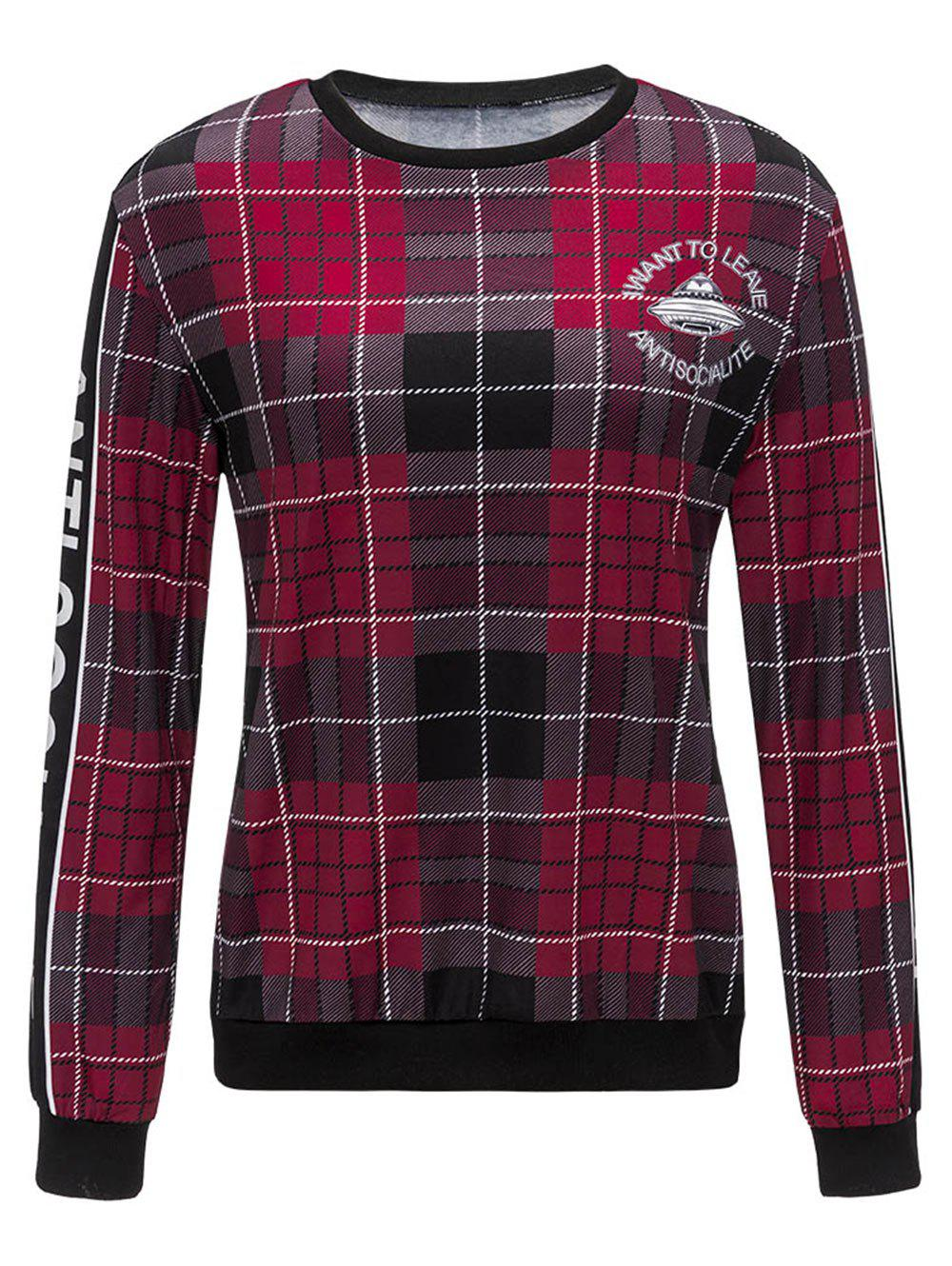 Graphic Print Crew Neck Plaid Sweatshirt printer head cap for stylus pro 4880 solvent printer