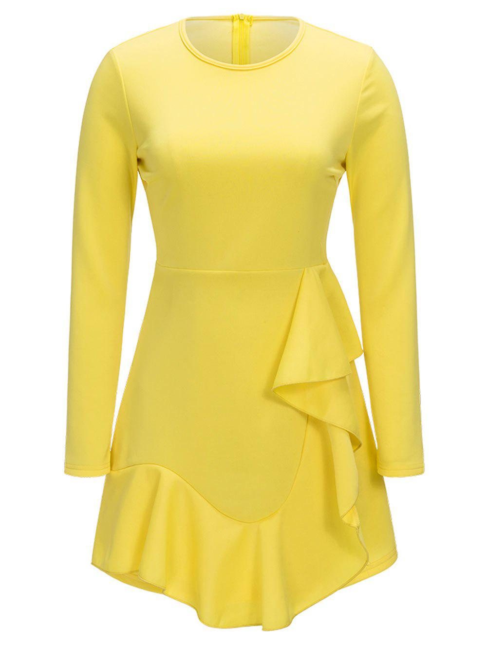Ruffle Long Sleeve A-line Dress - YELLOW L