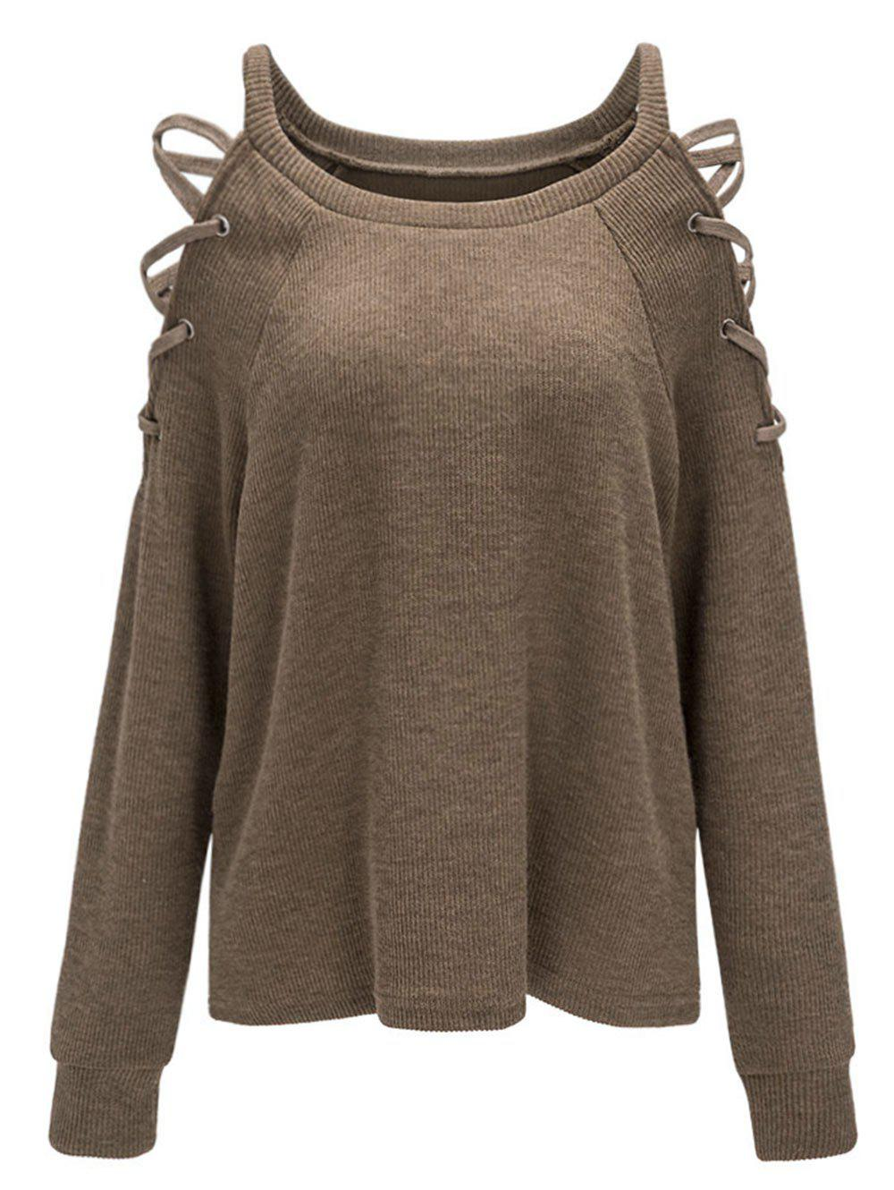 Criss Cross Cold Shoulder Knitwear - COFFEE XL