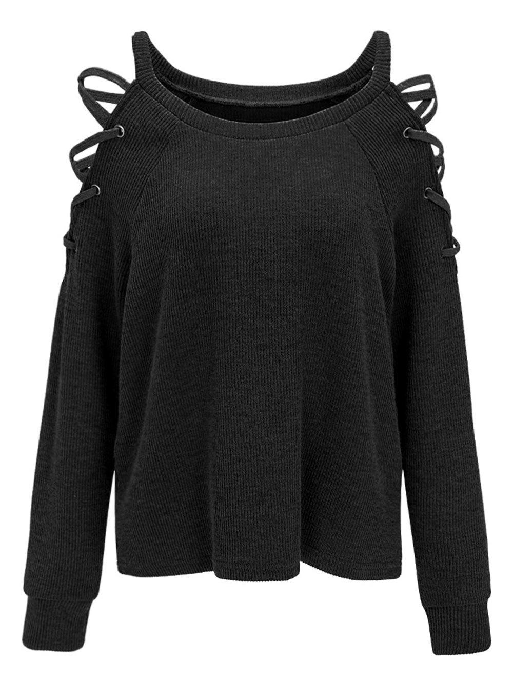 Criss Cross Cold Shoulder Knitwear - BLACK 2XL