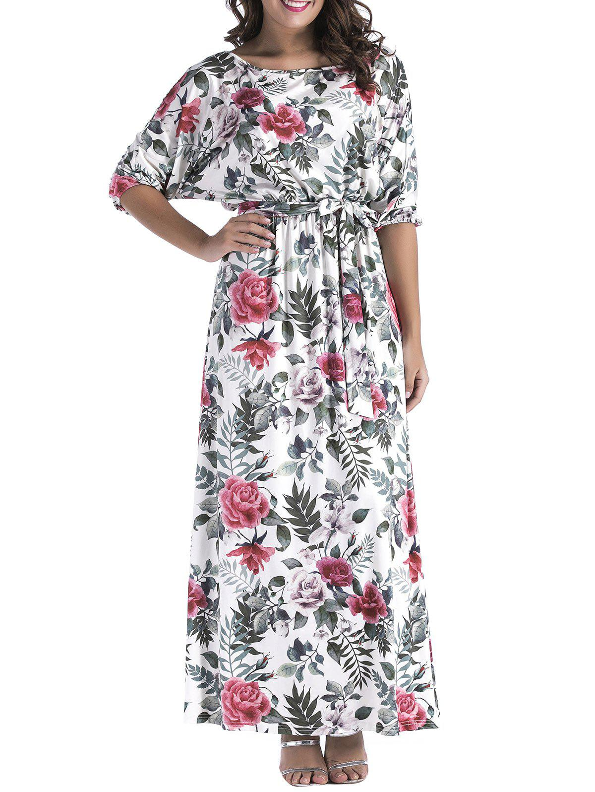 Belted Floral Print Batwing Sleeve Maxi Dress - GRAY L