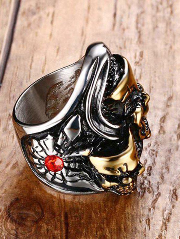 Funny Rhinestone Stainless Steel Skull Ring - SILVER/GOLDEN 9