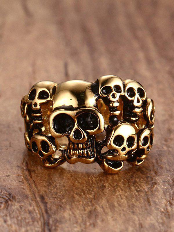 Alloy Stainless Steel Skulls Finger Ring - GOLDEN 11