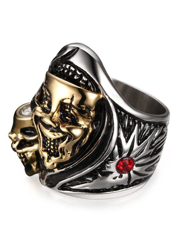 Funny Rhinestone Stainless Steel Skull Ring - SILVER/GOLDEN 10
