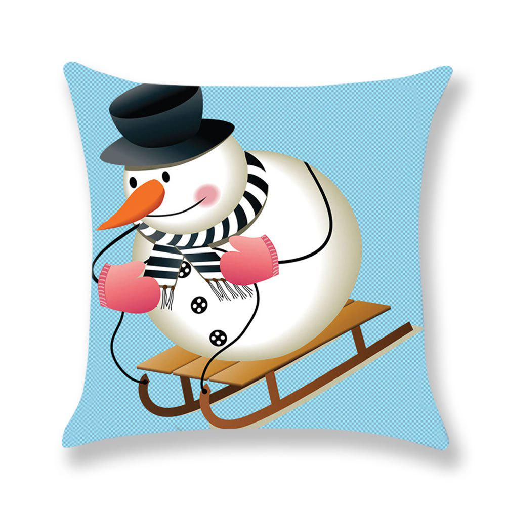 Skiing Snowman Pattern Square Pillow Case - COLORMIX W18 INCH * L18 INCH