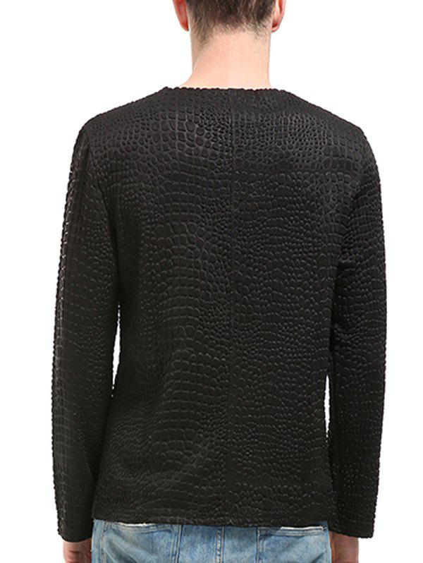 Leopard Emboss Long Sleeve Zippers T-shirt - BLACK XL