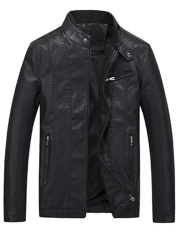 Veste en cuir Faux Collar Casual Flocking Stand - Noir 3XL