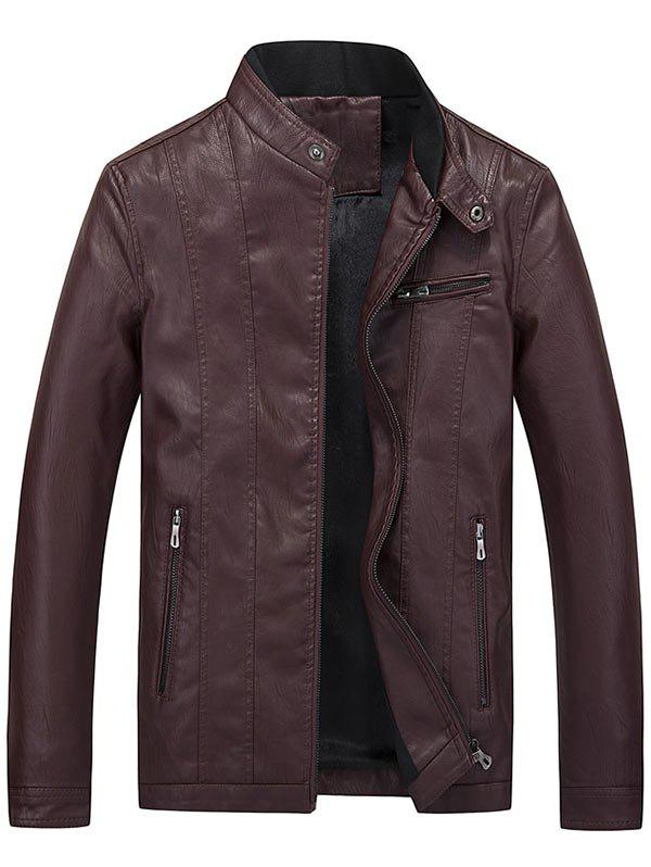 Casual Flocking Faux Leather Jacket casual flocking faux leather jacket