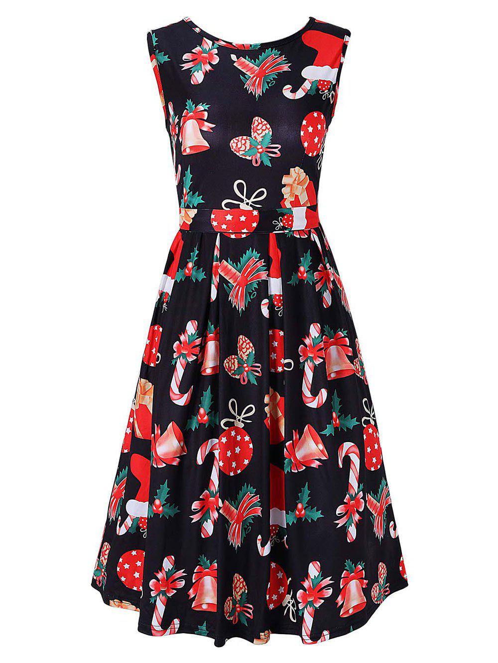 Printed Christmas A Line Party Dress женское платье a line slim dresses girls ladies shealth dress для live show party dancing