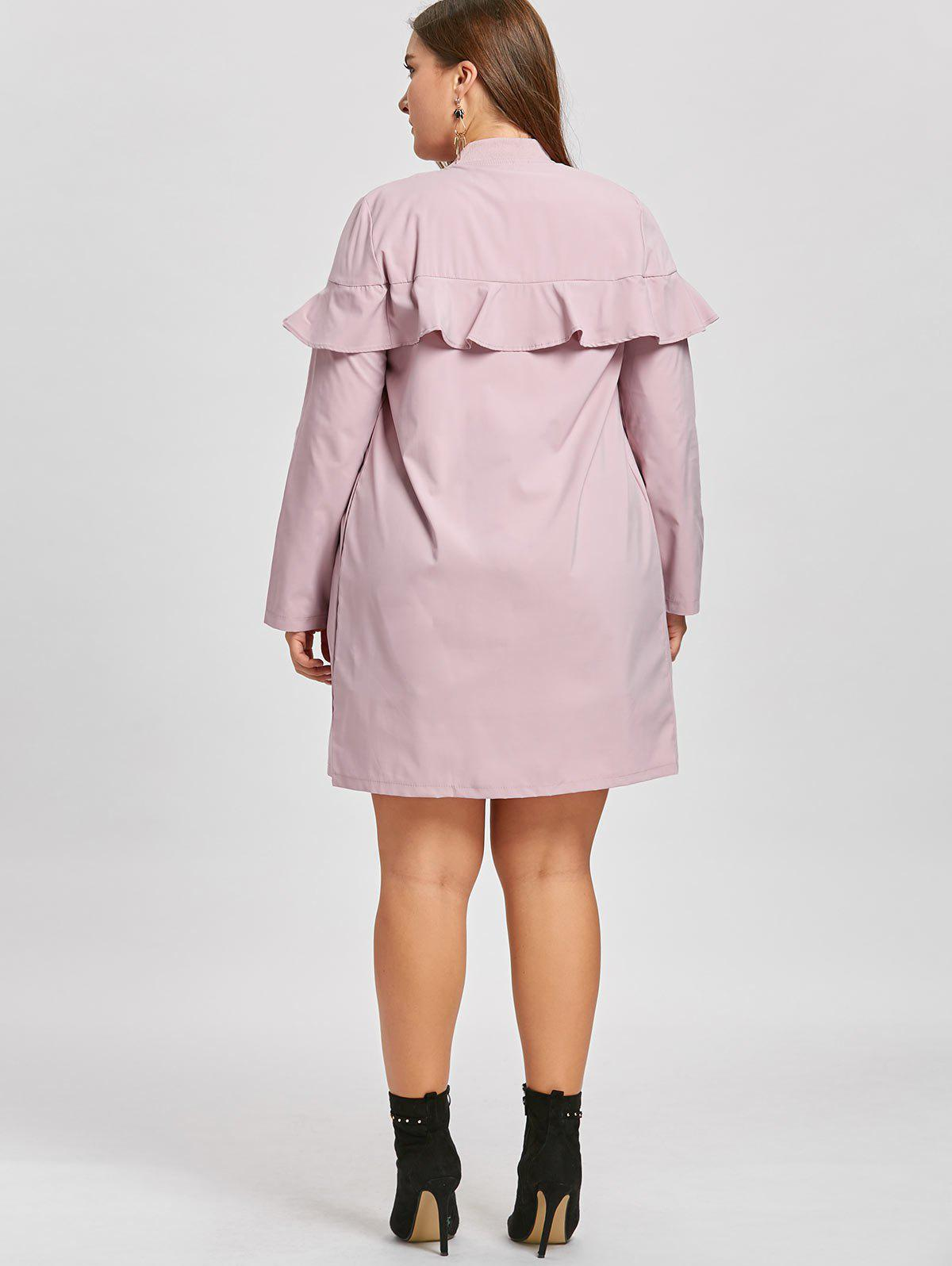 Zip Up Plus Size Ruffle Trench Coat - PINK 3XL