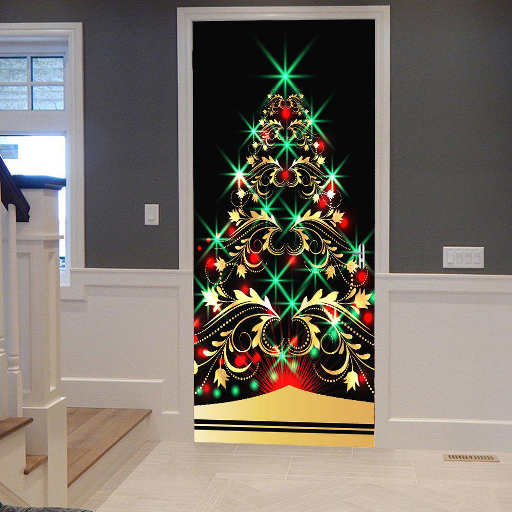 Sparkling Christmas Tree Pattern Door Stickers shinning christmas tree door art stickers