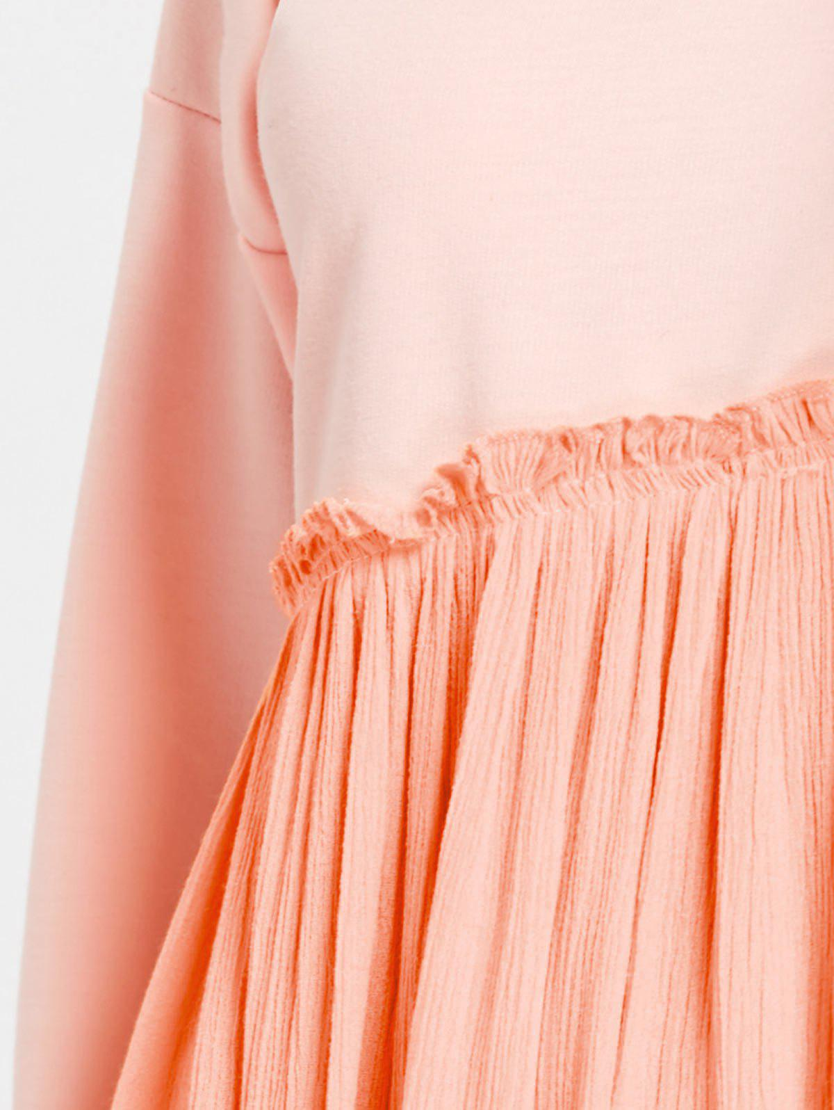 Hooded Long Sleeve Pleated Dress - PAPAYA M
