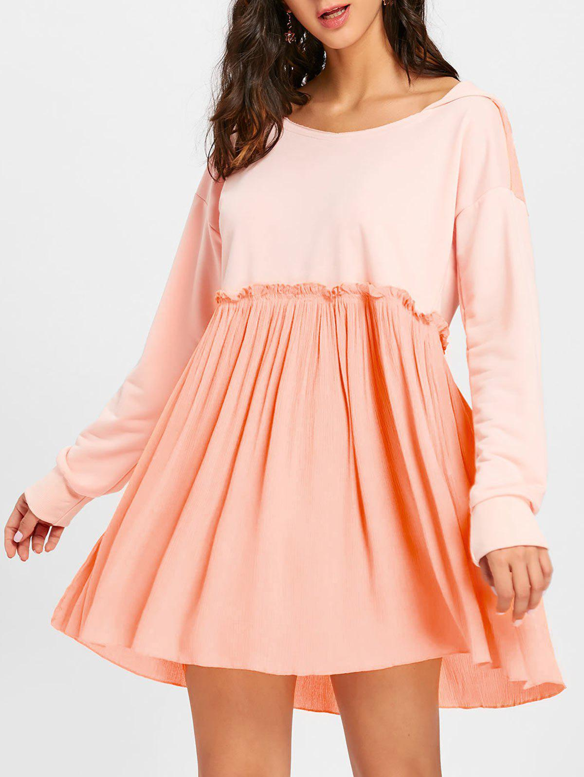 Hooded Long Sleeve Pleated Dress - PAPAYA S