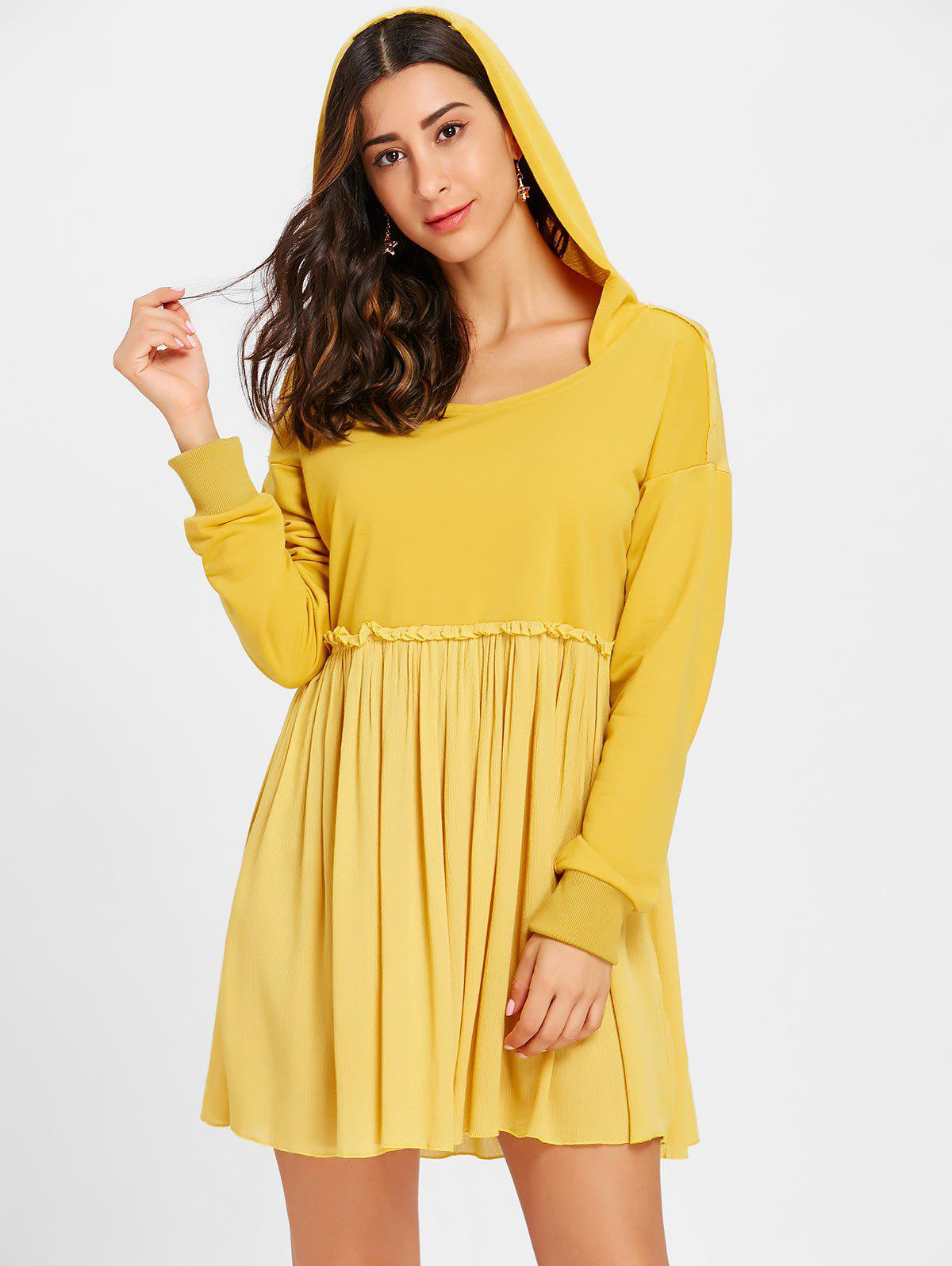 Hooded Long Sleeve Pleated Dress - GINGER S