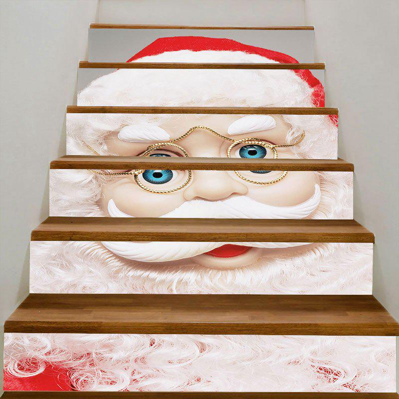 DIY Santa Claus with Glasses Printed Decorative Stair Stickers - WHITE 100*18CM*6PCS