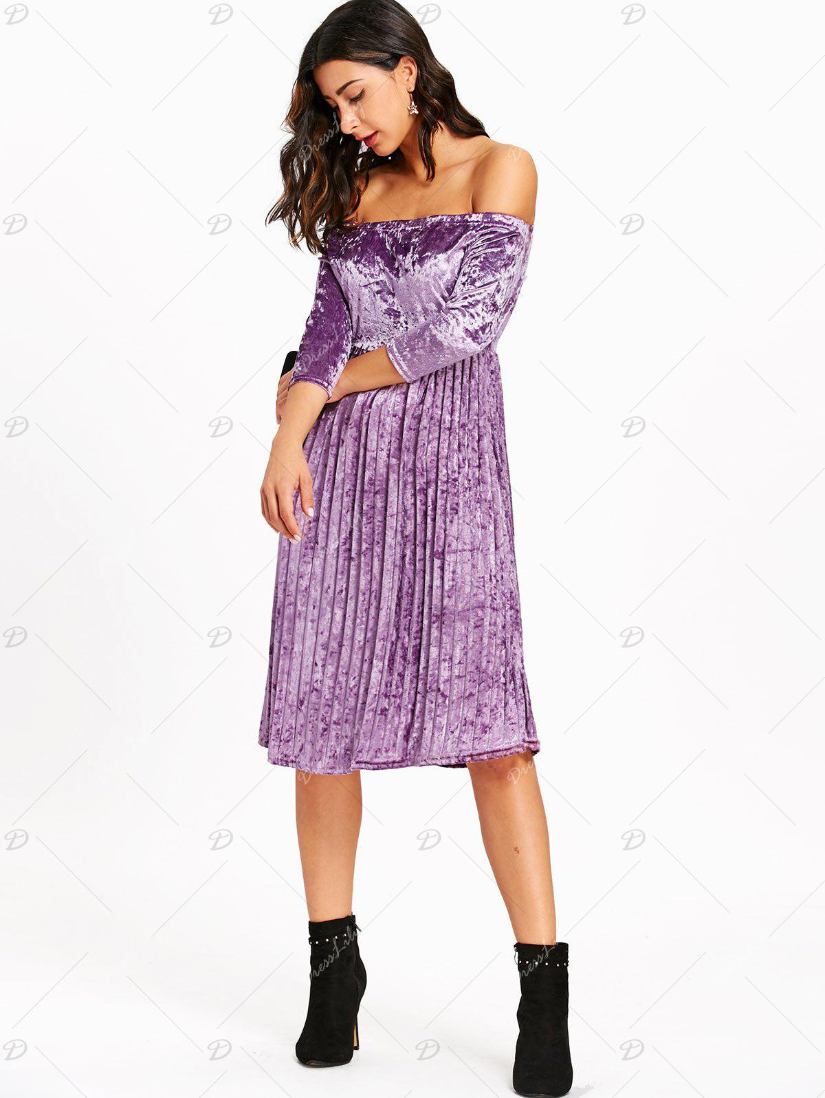 Off The Shoulder Velvet Pleated Dress - LIGHT PURPLE L
